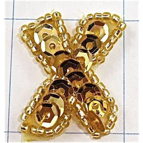 "Letter X with Gold Sequins and Beads 1"" x 1.5"""