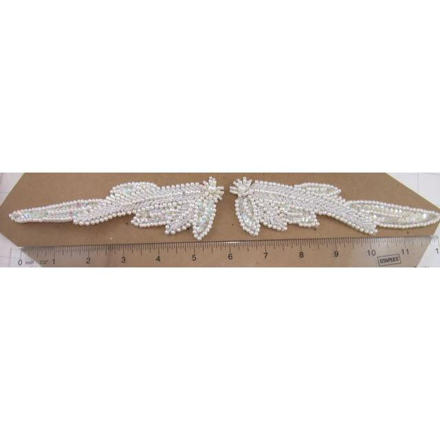 "Leaf Pair White Beaded and Iridescent Sequins 6"" x 3"""