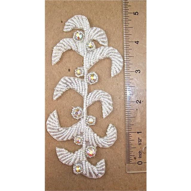 "Designer Motif with Silver Beads and AB Rhinestones 5.5"" x 2.5"""
