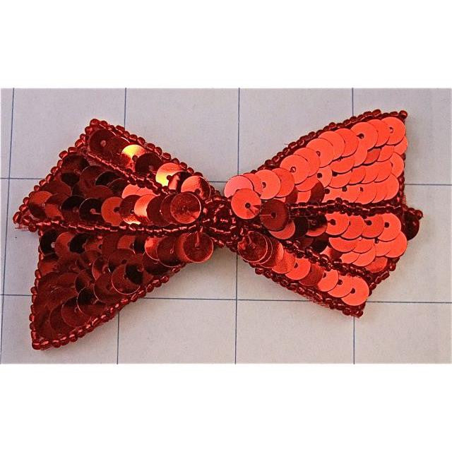 "Bow with Red Sequins and Beads 2"" x 4"""