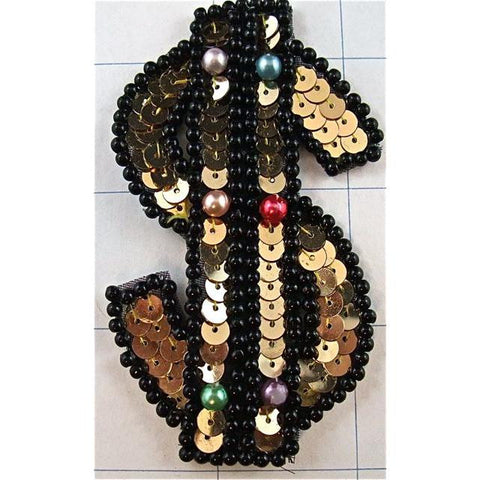 "$ Sign, Gold w/ Black Beads, 3.5"" x 2"""