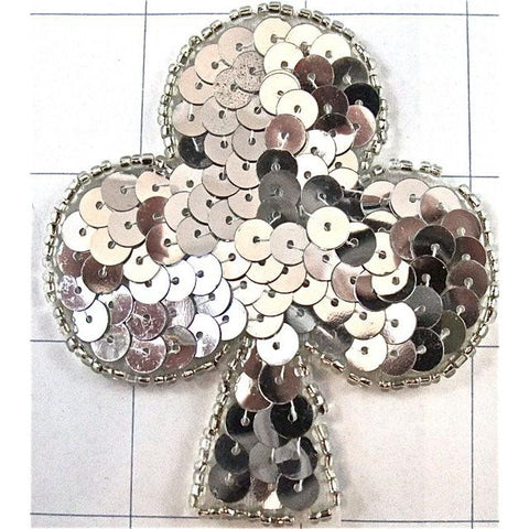 "Card Suit Club with Silver Sequins and Beads 3"" x 2.5"""