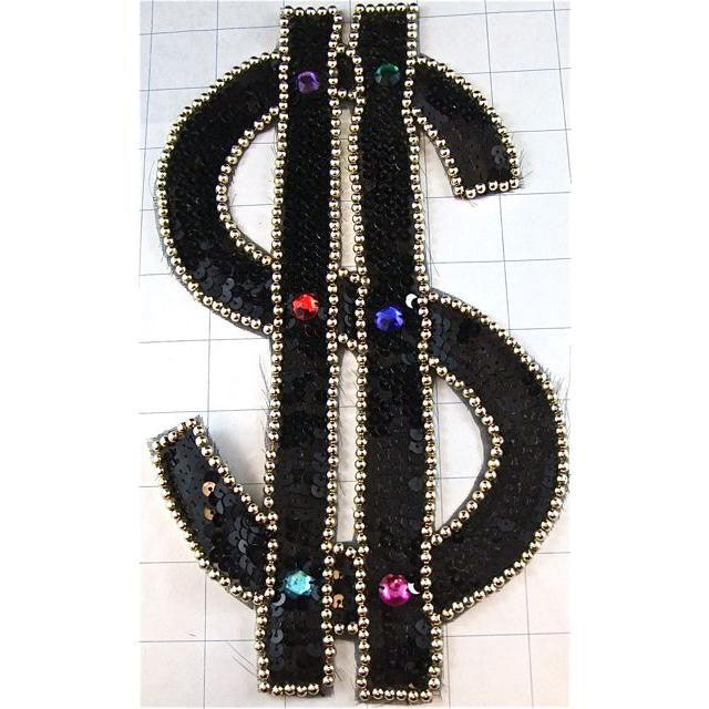 "$ Dollar Sign Black Sequins Gold Beads 10"" x 6"""