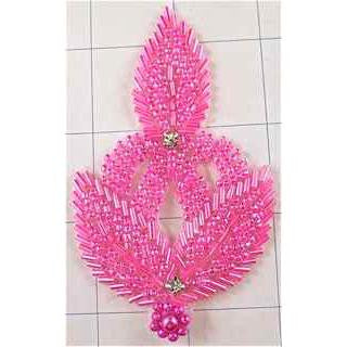 Designer Motif Leaf with Pink Beads and Rhinestones 4""