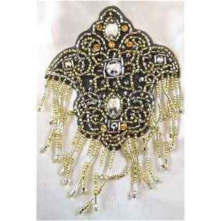 "Designer Motif Gold Black Silver with Rhinestones 5"" x 3.5"""