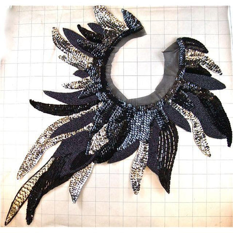 Black Silver Feather Sequin Neckline