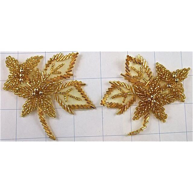 "Flower Gold Beaded Pair 3.5"" x 5"""