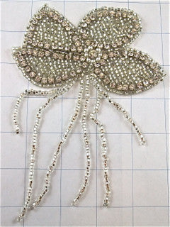 "Flower Silver Rhinestones and Beaded Fringe  6"" x 4"""