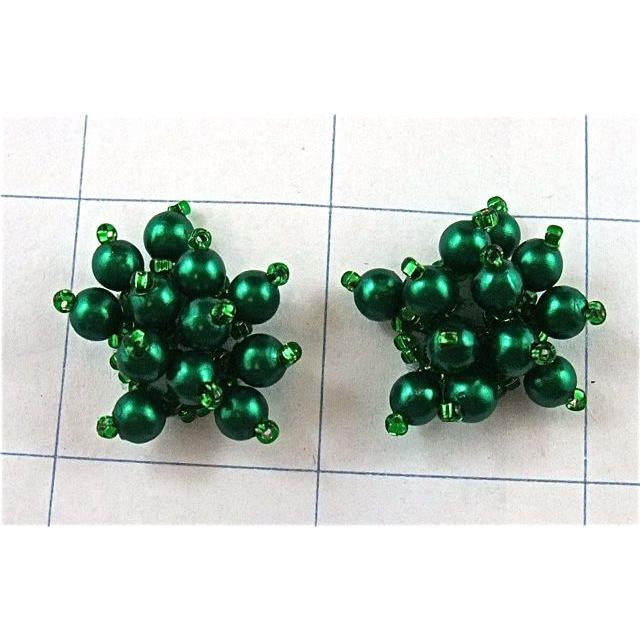 "Epaulet Pair Dark Green Beads 1"" x 1"""