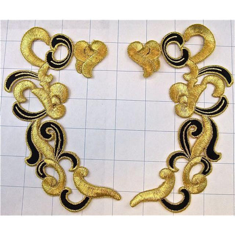 "Designer Motif, Metallic Gold and Black Embroidered Iron-On Pair 6"" x 3"""