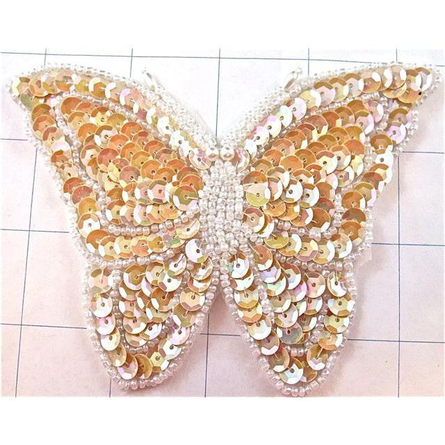 "Butterfly Beige and White Sequins and Beads 3"" x 3"""