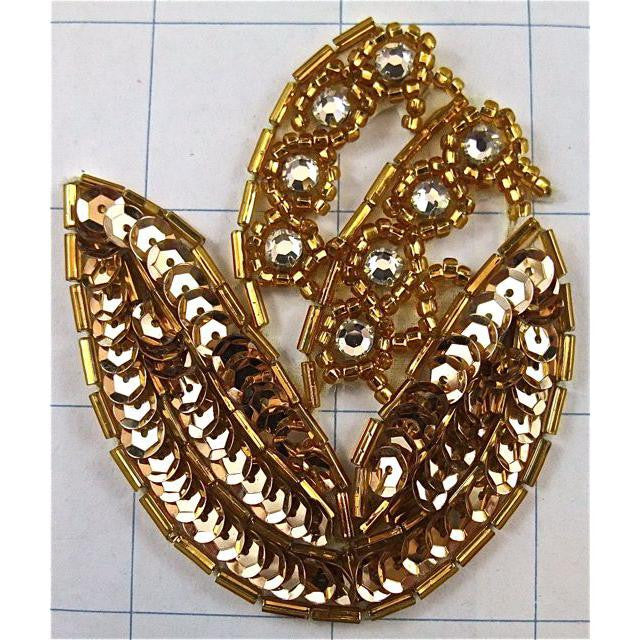 "Flower with Gold Sequins and Beads and Rhinestones 2.5"" x 3.5"""