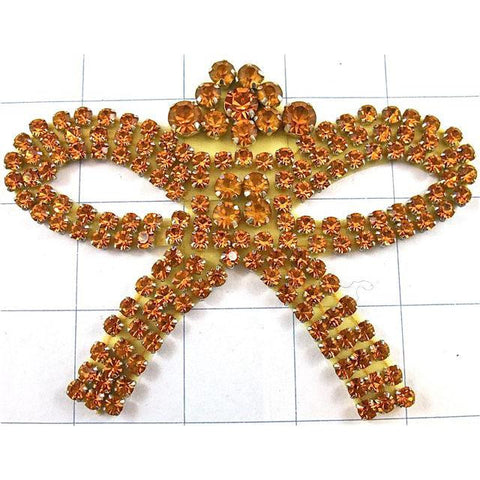 "Designer Motif Bow Shape All Gold Rhinestones  3"" x 4.5"""