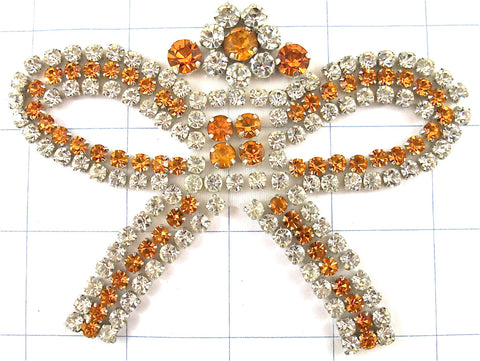 "Designer Motif Bow Shaped with Many Gold and Silver Rhinestones 5"" x 3.5"""