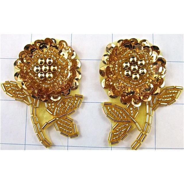 "Flower Pair with Gold Sequins and Beads 43"" x 2"""
