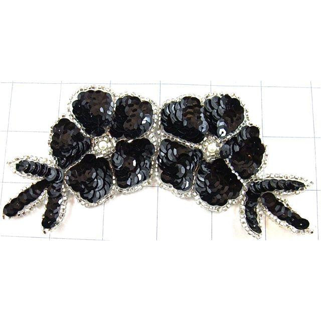 "Flower with Black Sequins and Silver Beads  6"" x 3"""