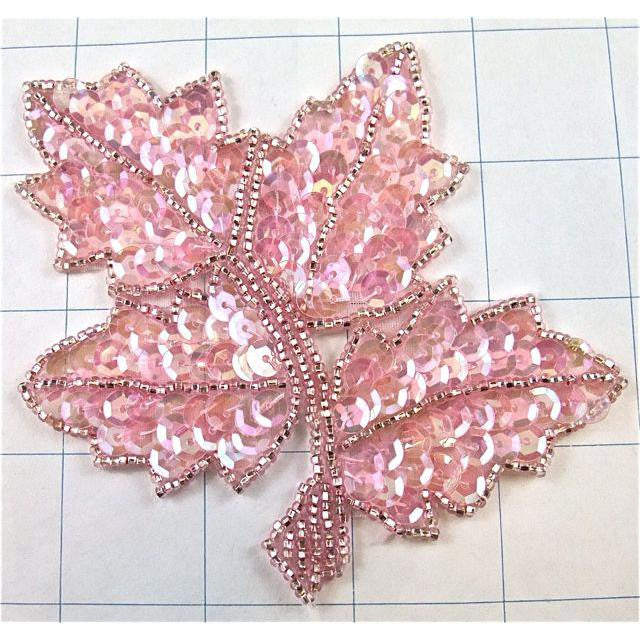 "Leaf Pink Iridescent with Beads 4"" x 4"""