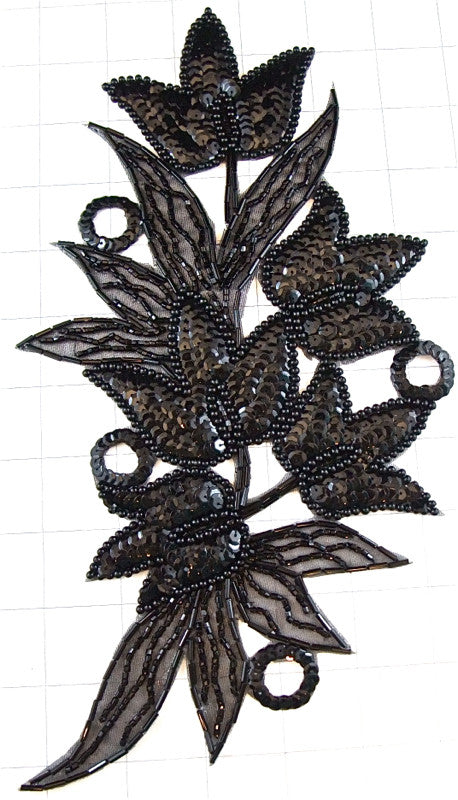 "Flower with Black Sequins and Beads 10.5"" x 6"""