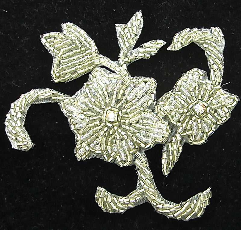 "Flower Silver Beaded with AB Rhinestones 4"" x 4"""