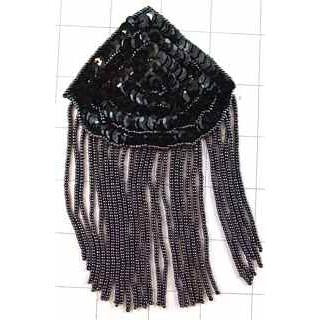 "Epaulet Black Beaded 6"" x 4"""