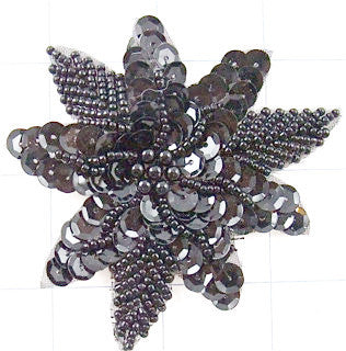 Flower with Black Beads and Sequins 3