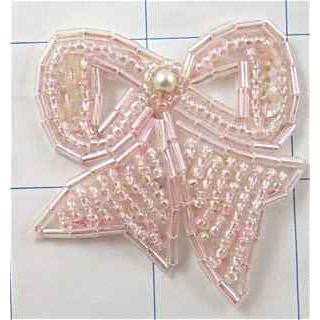 "Bow Light Pink Beaded 1.75"" x 1.75"""