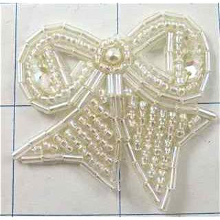 "Bow with Iridescent Beads 2"" x 1.5"""