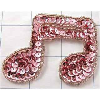 "Music Double Note Pink   2"" x 3"""