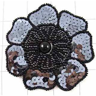 CHARCOAL FLOWER WITH SEQUINS AND BEADS 3.5""
