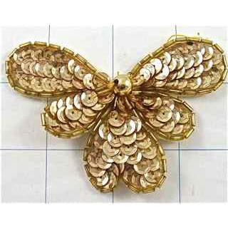 "Flower Gold Sequin 3.5"" x 2.5"""