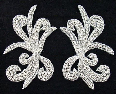 "Designer Motif Pair with Rhinestones and Silver Beads 6"" x 3"""