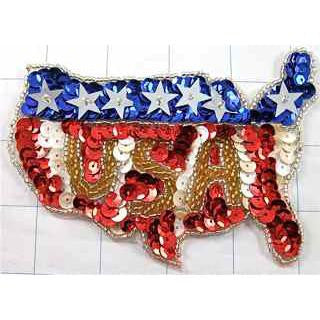 "Patriotic America Flag in Shape of USA Map Sequin Beaded, 4.5"" x 3"""