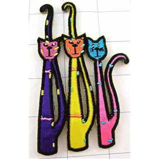"Cats, Multi-Colored Embroidered Iron-on  4"" x 3"""