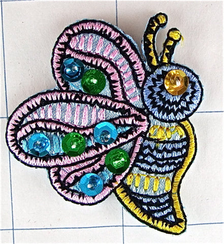 "Bumble Bee Embroidered Jeweled Iron On  2"" x 1.75"""