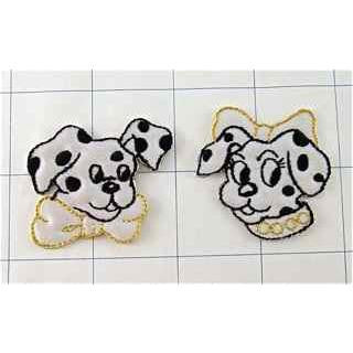 "Dalmatians Dog Pair with Bows,  Embroidered Iron-On  2"" x 1.25"""