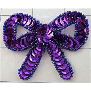 "Bow with Purple Sequins and Beads 2"" x 2.25"""