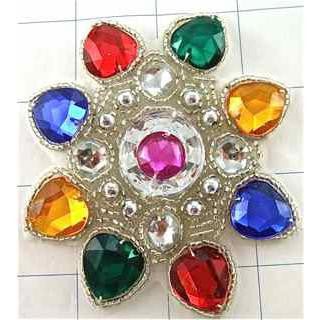 Designer Motif Jewel with Multi-Colored Gems Fuchsia In the Middle 3.5""