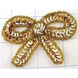 "Bow with Gold Sequins and Beads  2"" x 3"""