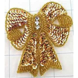 "Bow Gold with Beads and Sequins and Rhinestone 3.5"" x 3"""