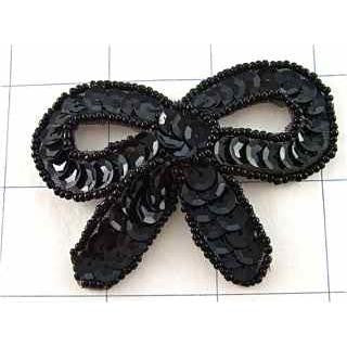 "Bow Black Sequin 2"" x 3"""