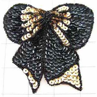 Bow with Black and Gold Sequins and Beads 3.5""