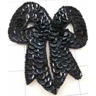 "Bow Black Sequin 4"" x 3"""
