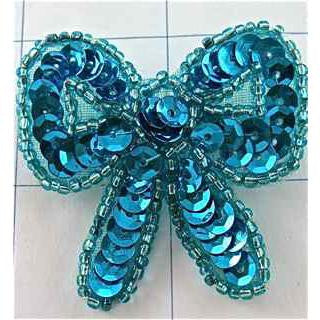 "Bow with Turquoise Sequin 2"" x 2"""