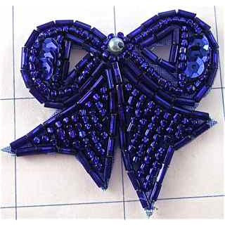Bow ith Royal Blue Sequins and Beads