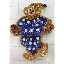 "Load image into Gallery viewer, Clown with Royal Blue Sequins and Gold Beads  4"" x 3"""