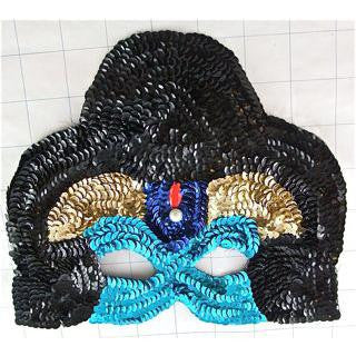 "Mask for Mardi Gras Black and Torquoise 6"" x 8"""