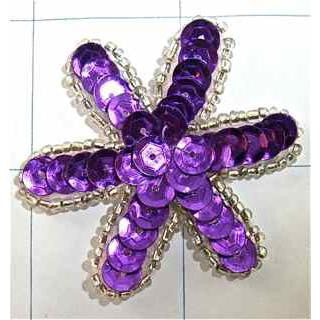 "Flower with Purple Sequins and Silver Beads  2"" x 2"""