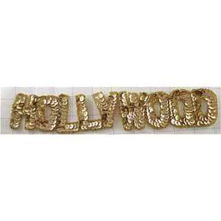 "Hollywood Word in Gold Sequins and Beads 12"" x 2"""