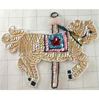 "Horse Carousel Cream with Saddle Sequin Beaded 6"" x 5"""