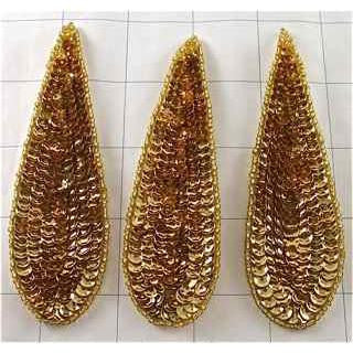 "Tear Drop Set of 3, Gold Sequins and Beads 4.25"" x 1.25"""